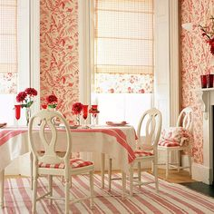 Swedish dining room in red & white is so cheery!