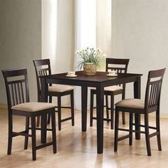Coaster Fine Furniture Moreland Cappuccino Dining Set With Square Counter (35-In To 37-In) Table 150041Ii
