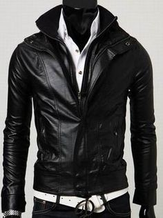 Men's leather jacket, Men Stand Collar Long Sleeve Double Zipper Slim leather jacket, motorcycle leather jacket