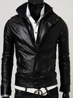 Men's leather jacket, Men Stand Collar Long Sleeve Double Zipper Slim leather jacket, motorcycle leather jacket