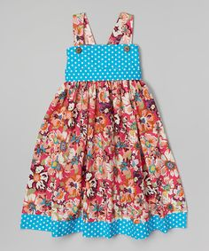 Look at this Whimsical by Molly Pop Inc. Turquoise Floral Babydoll Dress - Toddler & Girls on #zulily today!
