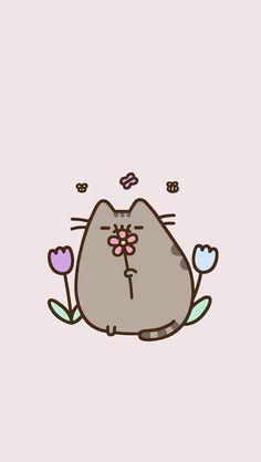 Flower pusheen Cute Animal Drawings, Kawaii Drawings, Cute Drawings, Cat Wallpaper, Kawaii Wallpaper, Iphone Wallpaper, Summer Wallpaper, Mobile Wallpaper, Cute Backgrounds