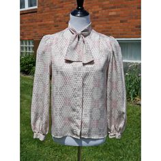 Vintage Bow Blouse, Soft shades of Blush, Mauve and Natural w Shiny Checks, Gathered Sleeves, Secretary, Boss, Work, Career by Have2Shop on Etsy