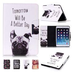 For iPad Mini Case Cover Cute Dog PU Leather Flip Folio Stand Magnetic Case Full Body Protective Cover for iPad Mini 3 2 1 Coque