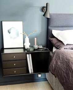 Sweet dreams... Night table in Black with brass handles. Image by @smaatingene #nightstand #nighttable #bedroomdecor #bedroomdesign #shelving #storage