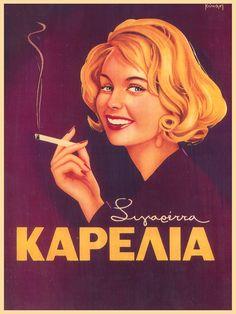 "modernizor: "" Karelia Cigarettes / Greek vintage advertisement """