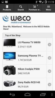 WECO E-Commerce Mobile Demo- screenshot Nikon Coolpix P500, Ecommerce App, Mobile Offers, E Commerce, Mobile Application, Product Catalog, Spare Parts, Libraries, Free