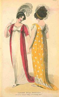 Fashions of London and Paris, Full Dress, February 1805. LOOK AT THOSE PLUMES!