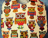 Bib for Baby or Toddler Large Owls Handmade LAST TWO
