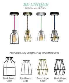 Custom Cage Pendant Lights in any size and color. See photos for all available cord colors and hardware choices  HOW TO ORDER - SELECT: Cord length and bulb choice from the drop down menu SPECIFY NOTE during checkout for - Cord Color - Socket Color - Ceiling Plate Color or Plug - Cage Type - Any Additional Length Details  LENGTH: Cords can be any custom lengths and include either a ceiling plate (for hardwired) or plug. Up to 6 FT is included in base price. Length is measured as the total…