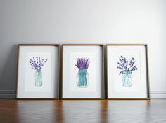 Set Of 3 Lavender Plant Prints by mermaiddesignco Lavender Decor, Lavender Walls, Dining Room Wall Decor, Garden Nursery, Stores, Printing Services, Digital Prints, Printer, Gallery Wall