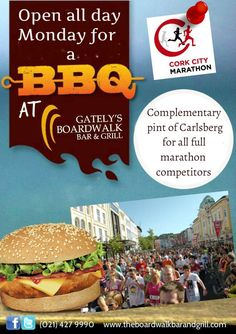 Join us on Monday for a BBQ on the river! There is a complimentary pint of Carlsberg for all full marathon competitors! Good luck to all competing!