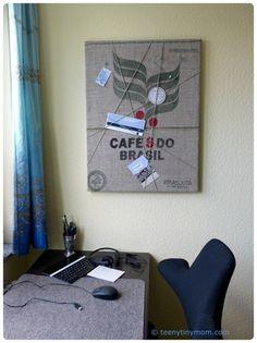 Pinnwand aus einem Kaffeesack für ein Männerzimmer