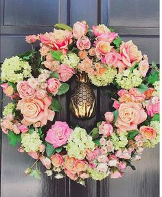 Beautiful wreath for spring front entrance.
