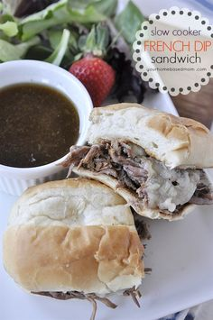 Slow Cooker French Dip Sandwiches! Serve on a toasted bun with provolone cheese on top!