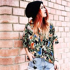 Luanna Perez edgy, boho, hippie outfit. Love her red ombre hair!