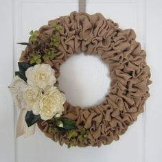 Elegant burlap wreath with cream and green by willowbloomwreaths