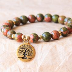 Buddhist Mala Bracelet, Prayer Bead Bracelet, Yoga Jewelry, Unakite For Recovery, Spiritual and Psychological Growth