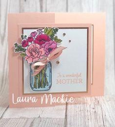 Hand Made Greeting Cards, Making Greeting Cards, Mum Birthday, Birthday Cards, Carpe Diem, Mason Jar Cards, Mason Jars, Love Jar, Mason Jar Flowers