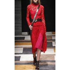 Salvatore Ferragamo Poppy Macrame Lace Skirt (202,755 INR) ❤ liked on Polyvore featuring skirts, red knee length pencil skirt, wrap skirt, wrap around skirt, pencil skirt and crochet lace pencil skirt