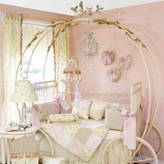 Soft Pink Wall Color With Amazing Wooden Carriage Bed Frame For Cinderella…