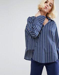STYLENANDA Deconstructed Kimono Shirt In Pinstripe