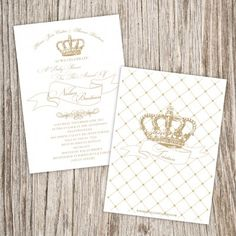 White Gold Baby Shower Invitation - Daughter of the King