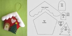 Christmas 2019 : Felt Christmas moulds and crafts – Dessie Mineva – Trend Gingerbread Christmas Decor, Handmade Christmas Decorations, Felt Christmas Ornaments, Christmas Diy, Christmas 2019, Felt Diy, Felt Crafts, Christmas Frames, Theme Noel