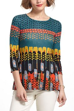 I want to make this, only stop pattern after last blue stripe Anthro boatneck top...L...$68