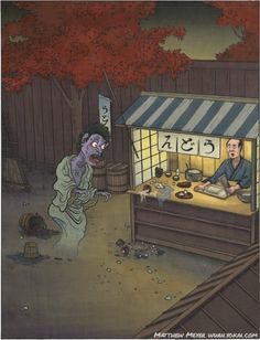 Kowai (狐者異, こわい)  Today's yokai first appeared in the Ehon Hyakumonogatari, a collection of illustrated ghost stories published in 1841.  Kowai is the ghost of a glutton. Someone who loved food so much that they even ate other people's portions in life would carry that attachment to food into his next life, transforming into this yokai when he died. Kowai stumbles about towns, rooting in trash bins, digging at carrion, and assaulting food stalls and shopkeepers just to get one more precious…