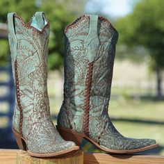 Turquoise Lace Boots | King Ranch Saddle Shop...These would be lovely with a white sundress.