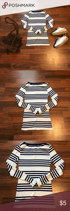 Striped boat neck long sleeve shirt Striped boat neck long sleeve shirt, navy blue and white. Tops Tees - Long Sleeve