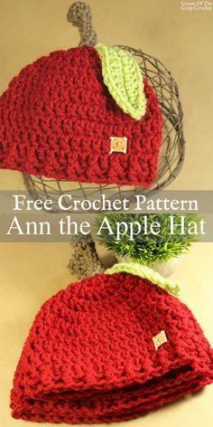 crochet poncho kids Ann the Apple Hat Crochet Pattern Crochet Kids Hats, Crochet Beanie, Knit Or Crochet, Crochet Gifts, Crochet Clothes, Crochet Baby, Free Crochet, Crochet Poncho, Crochet Apple