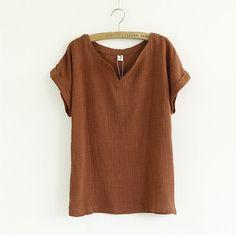 Women Summer Short Batwing Sleeve Shirt Gril Loose Plue Size Blouse Cotton Linen V-Neck Casual Shirt Original Vintage Top