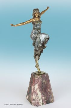 """Russian Dancer"" a classic Art Deco   cold-painted bronze sculpture by Paul Philippe, France circa 1920's- the dancer en pointe wearing a bejewelled dress mounted on a rouge marble base- 44cm high Inscribed Philippe in the marble"