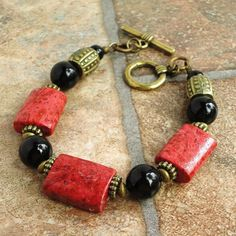 Red Sponge Coral & Black Onyx Bracelet Antiqued by mamisgemstudio, $19.95