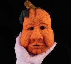 Needle Felted Pumpkin Jack O Lantern Soft Sculpture by Bella McBride.