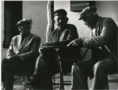VINTAGE GREECE: Kafeneio, Skiathos, 1960. A photograph by Wolf Suschitzky.