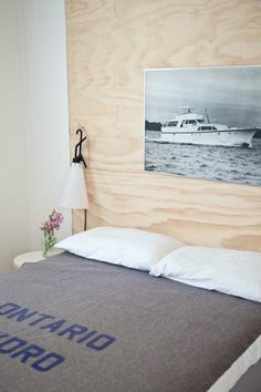my scandinavian home: A Scandinavian inspired Georgian Bay holiday home Plywood Headboard, Plywood Walls, Plywood House, Wall Headboard, Modern Headboard, Headboard Ideas, Wooden Walls, Home Bedroom, Bedroom Decor