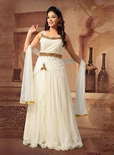 Off White designer Indian Maxi style anarkali suit in net G15183