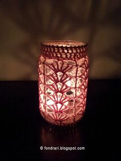 Crocheted jar cover