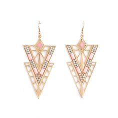 Deco Triangle Dangle Earrings ($5) ❤ liked on Polyvore