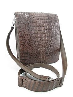 44a59a6965 PELGIO Genuine Crocodile Alligator Skin Leather Cross Body Messenger Bag  (Mahogany Brown)