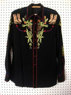 Rare Nathan Turk Western Men s Shirt Cowboy on Bucking Bronc Horse circa 1950 s