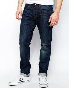Jeans von Edwin aus Baumwoll-Denim klassischer Fünf-Taschen-Stil dunkle Waschung legere Passform mit zulaufendem Schnitt