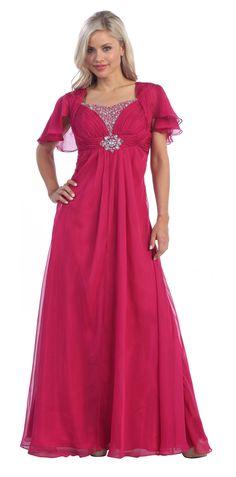 Dark Fuchsia Mother of the Bride Dress Short Sleeve Empire Waist $177.99