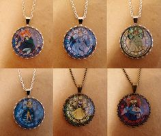 Disney characters and Princesses stained glass/mosaic cameo Cufflinks, necklace or Brooch, Beauty and the Beast, Ariel - By KyraBothwell on Etsy