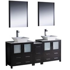 Photo On Fresca Torino inch Espresso Modern Double Sink Bathroom Vanity with Side Cabinet and Vessel Sinks Espresso Brown Size Double Vanities