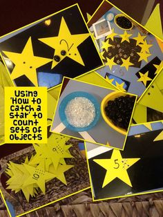 How to catch a star Work with stars to count sets of objects. How to catch a star Work with stars to count sets of objects. Moon Activities, Eyfs Activities, Dark Nursery, Maths Eyfs, Star Work, School Readiness, Space Theme, Book Projects, Day For Night