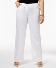 JM Collection Plus Size Embellished Wide-Leg Linen Pants, Only at Macy's $29.75 Relaxed and absolutely essential, JM Collection plus size pants are key to a lightweight look.